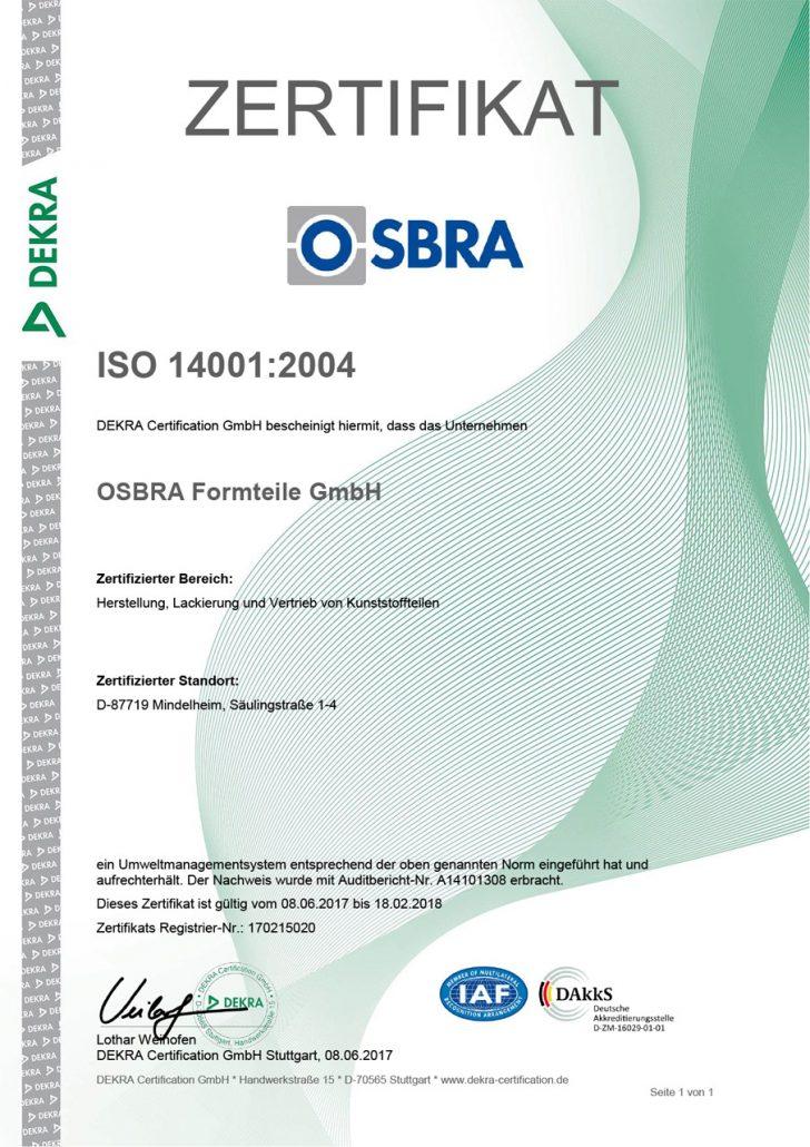 Zertifikat OSBRA ISO 14001:2004