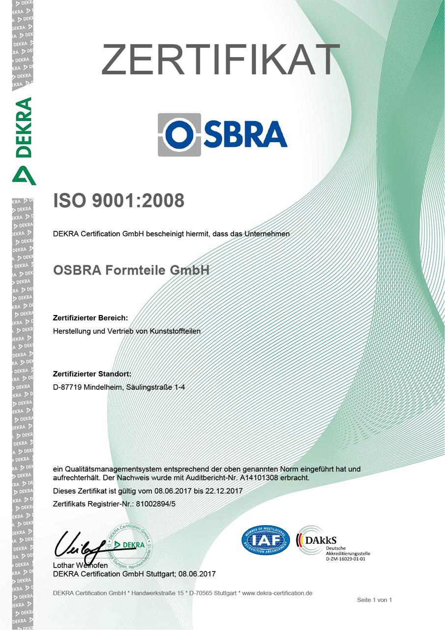 Zertifikat OSBRA ISO 9001:2008