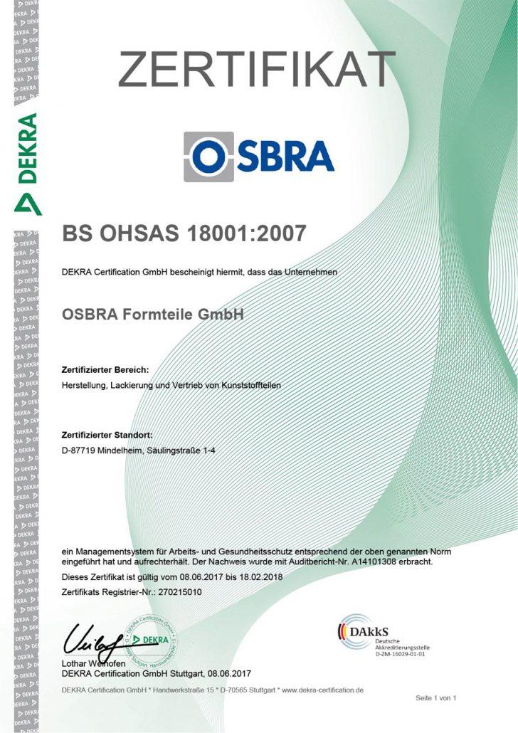 Zertifikat OSBRA BS OHSAS 18001:2007