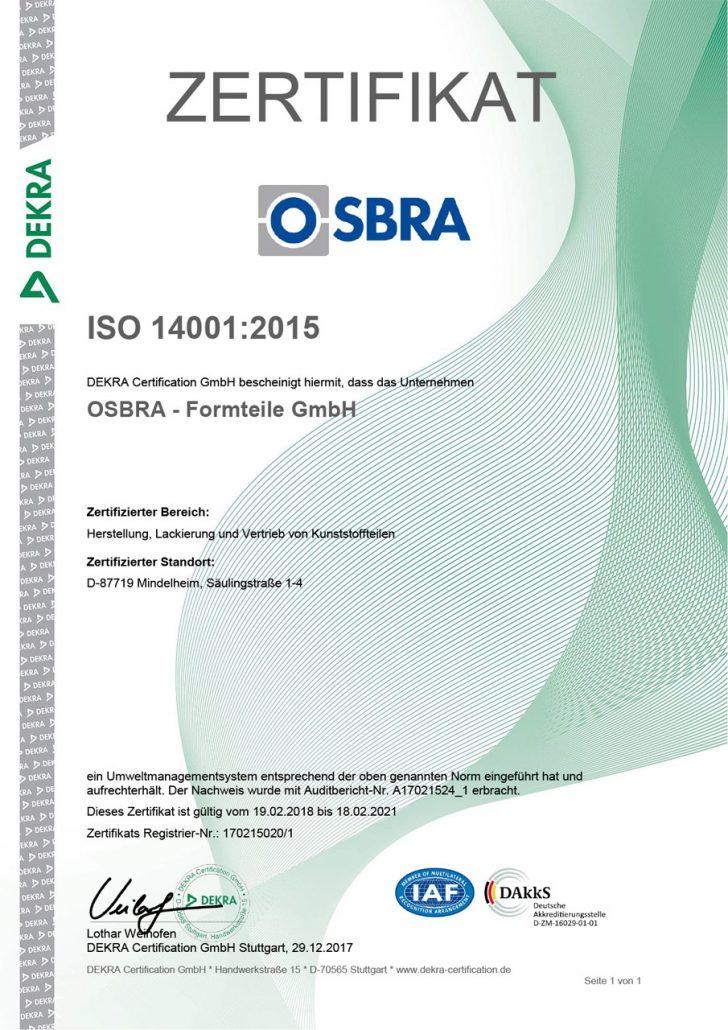 Zertifikat OSBRA ISO 14001:2015